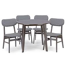 baxton studio debbie mid century dark brown wood 5pc dining set