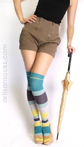 organic cotton the knee socks with brown green blue stripes