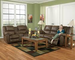 Reclining Sofa And Loveseat Benchcraft Quarterback Canyon Reclining Sofa In Faux Brown