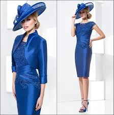 royal blue tea length mother of the bride dresses with jacket cap