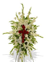 funeral spray and white cross standing funeral spray delivered in baton