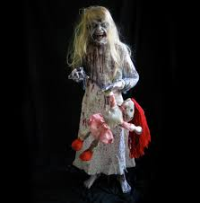 lifesize standing zombie little u0026 doll scary haunted house