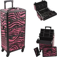 professional makeup rolling hair stylist case 4 wheel 2 in 1