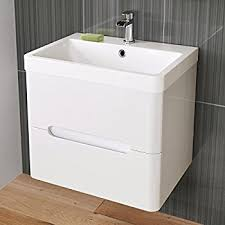 White Vanity Sink Unit White 600 Mm Wall Hung Vanity Basin Sink Unit 2 Drawer Countertop