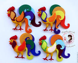felt rooster hanging ornament by pepitasstudio on etsy 10 00