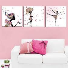 deco fee chambre fille fée papillon fille 3 pcs affiche de peinture canevas chambre salon