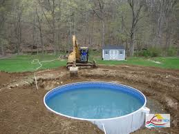 the simple above ground pool deck from wooden with circular pool