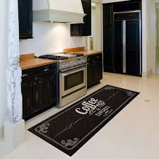 floral mat in the kitchen with hardwood floors