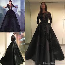 zuhair murad 2017 long sleeve black prom dresses lace applique
