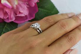 wedding set rings 3 4 ctw halo wedding set vintage style bridal rings made
