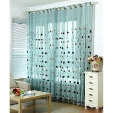 Cotton Gauze Curtains Embroidery Sunflower Pattern Blue Linen And Cotton Sheer Curtains