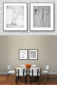 Kitchen Wall Art Black And White Set Of  Prints Dining Room - Dining room framed art