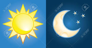 set of sun and moon day and royalty free cliparts vectors