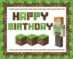 minecraft happy birthday card printable jerzy decoration