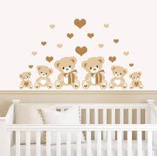Nursery Stickers Teddy Bears U0026 Hearts Brown Childrens Nursery Printed Wall Art