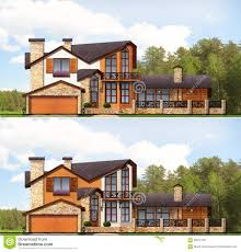 private home project design facade family house stock photo