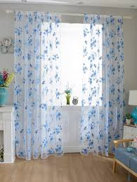 floral embroidery sheer fabric voile curtain sky blue cm in