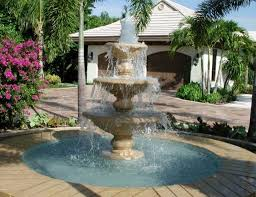 wonderful water fountain design for classic backyard design with