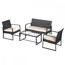 Outdoor Patio Sectional Furniture Sets - 4 pcs outdoor patio sofa set sectional furniture pe wicker rattan