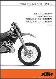 2009 ktm 125 200 250 300 xc xc w exc printed motorcycle owners manual