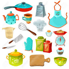 cooking decorative icons set of kitchen utensils with frying
