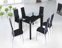Rectangle Glass Dining Table Set Black Dining Table With Rectangle Glass Top Plus Black Chairs