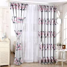 Pink And Grey Curtains Casual Pink Geometric Pattern Grey Polyester Insulated Blackout