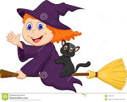 cartoon halloween witch flying