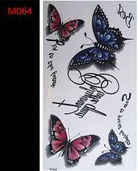 design temporary butterfly pattern tattoos waterproof