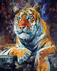 siberian tiger 1 u2014 palette knife oil painting on canvas by leonid
