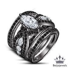 wedding rings trio sets for cheap 3 engagement wedding bridal ring trio sets marquise