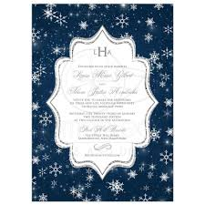 snowflake wedding invitations winter wedding invitation a wintry navy white silver
