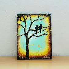 bird painting tree of turquoise aqua blue wall decor