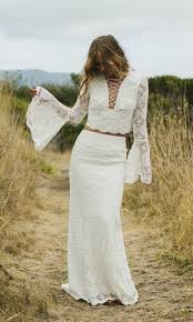 hippie wedding dresses crochet two wedding dress fleetwood by daughters of