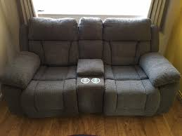 Recliner With Cup Holder Scs Grey Fabric Cinema Sofa Reclining With Centre Console