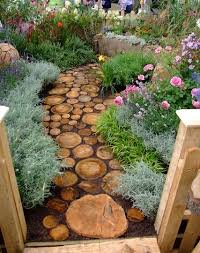 Backyard Walkway Designs - diy outdoor making porch plants for summer paths logs and reuse