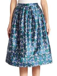 cotton skirts oscar de la renta printed silk cotton skirt lapis women s skirts