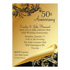 50 wedding anniversary black gold 50th wedding anniversary invitation zazzle