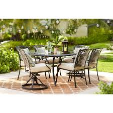 metal outdoor table and chairs hton bay belcourt 7 piece metal outdoor dining set with