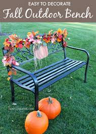 fall outdoor decorations easy to decorate fall outdoor bench oh my creative