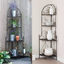 Wrought Iron Bakers Rack With Glass Shelves Indoor Outdoor Corner Bakers Rack Folding Metal Plant Stand With