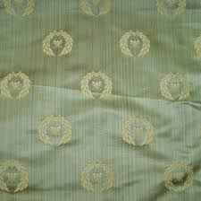 designer neoclassical bee silk damask fabric celadon gold opal 5
