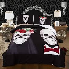 Couples Bed Set 3d Skull Size Bedding Set With Duvet And Pillow Cover