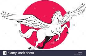 illustration of a pegasus flying horse set inside circle on