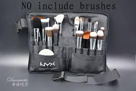 black two arrays makeup brush holder professional pvc a bag artist belt strap portable make up bag cosmetic brush bag
