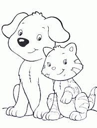 dogs and cats coloring pages in dog and cat coloring printable 1
