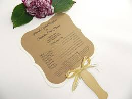 ornate square rustic wedding program fan style with gold and