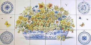 ceramic tile murals for kitchen backsplash bette s yellow daffodils tile mural blueware accents kitchen decor