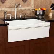 Farmhouse Kitchen Design Ideas White Standard Farmhouse Kitchen Sink Idea With Black Granite
