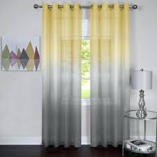 Gray And White Curtains Yellow Striped Pattern Fabric Shower Curtains Cotton Shower